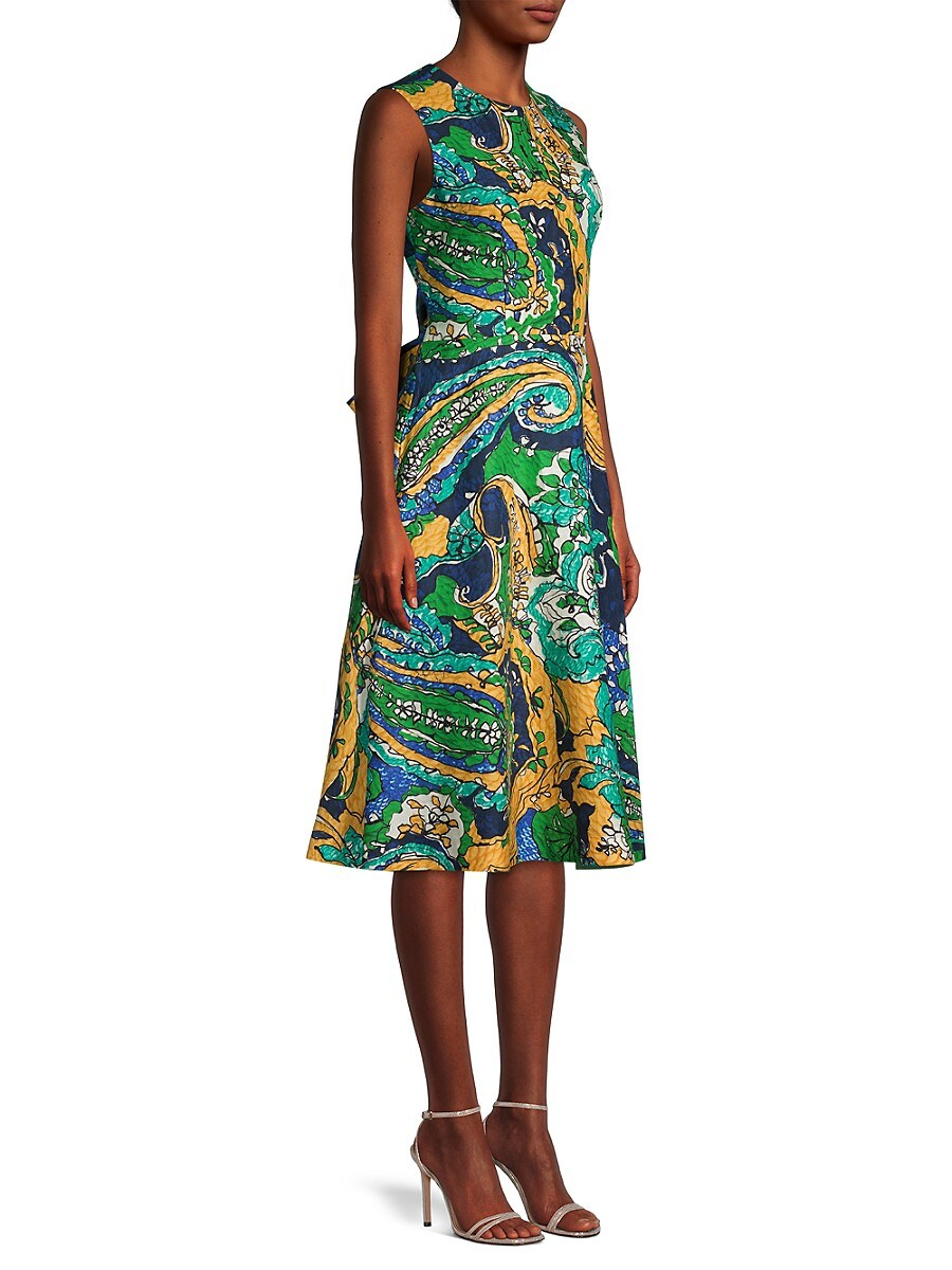 KOBI HALPERIN Midi dresses WOMEN'S SOPHIE TROPICAL LINEN A-LINE DRESS