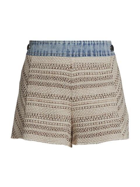 Edith Mix-Media Knit Denim Shorts
