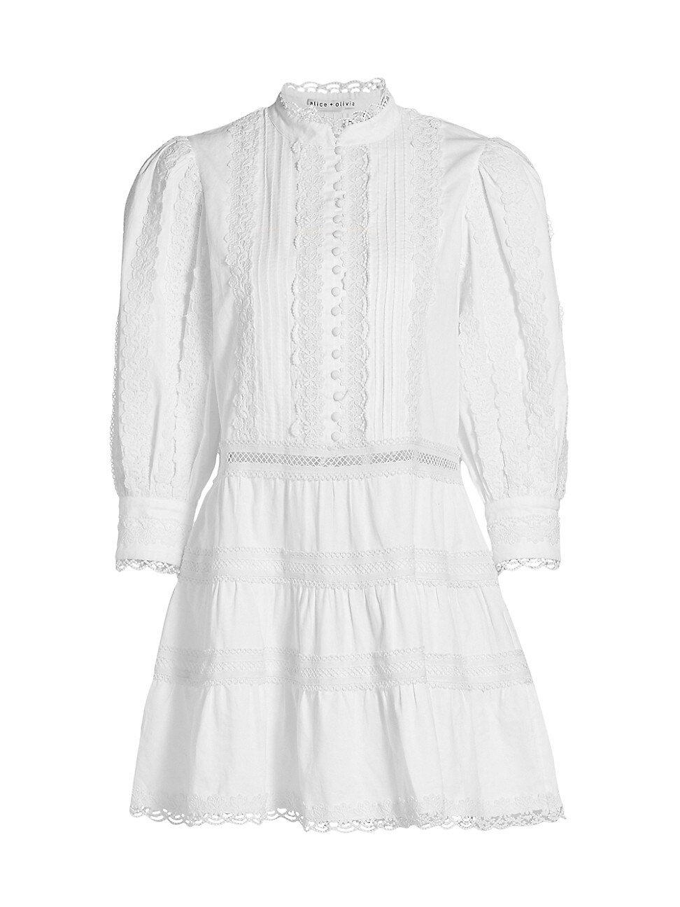 Alice And Olivia WOMEN'S CLARK EMBROIDERED TIER MINI DRESS