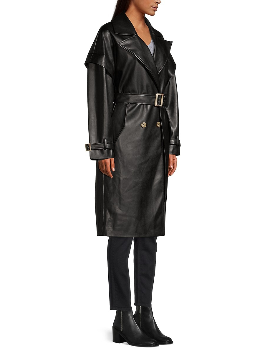 APPARIS Leathers WOMEN'S NATALIA LEATHER-LOOK TRENCH COAT