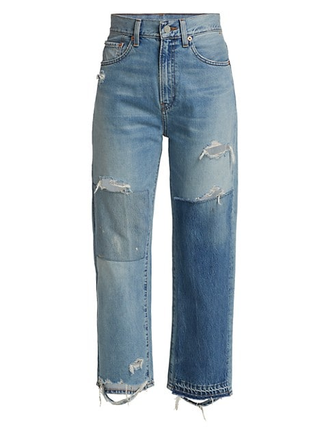 Pierce High-Rise Patchwork Jeans