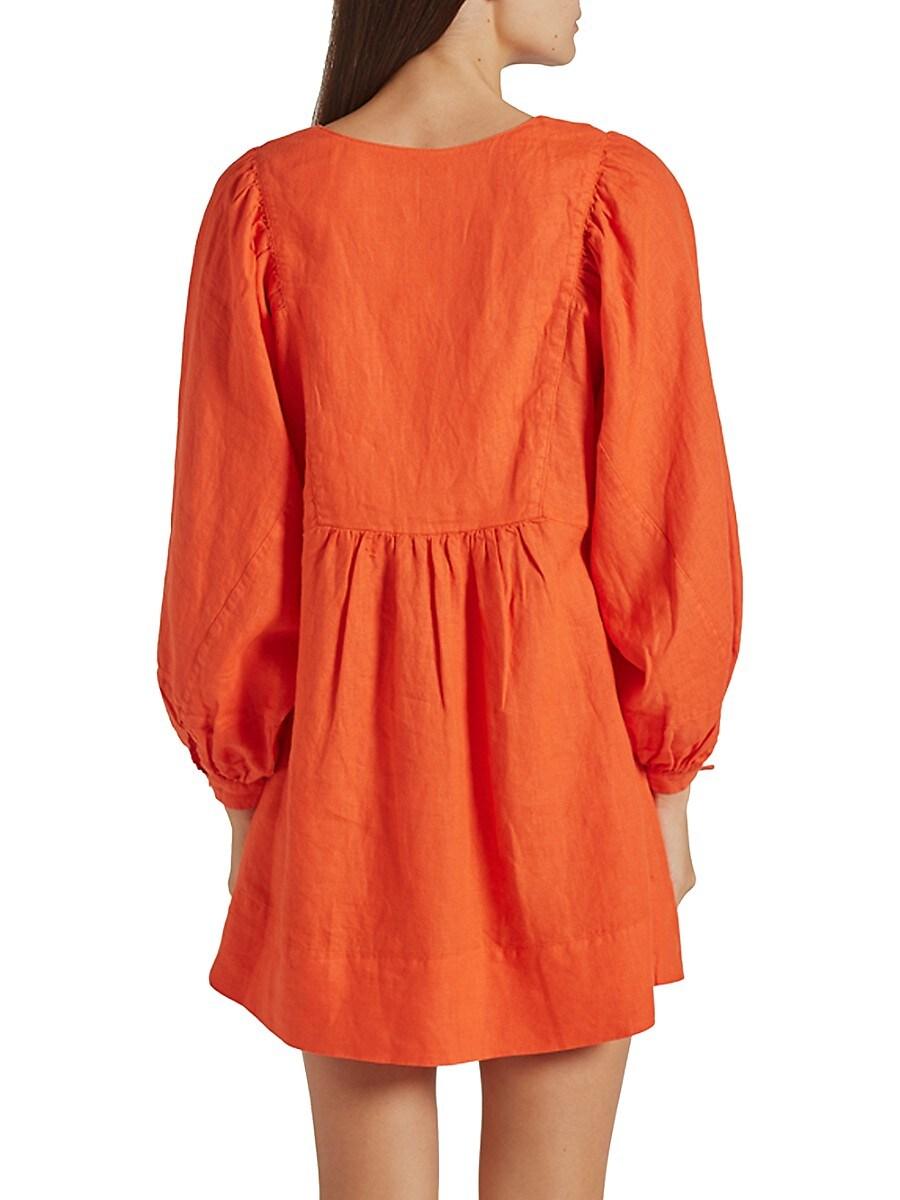 JOIE Linens WOMEN'S JADE PUFF-SLEEVE LINEN DRESS