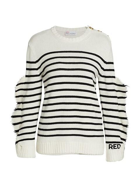 Striped Raw Hem Sweater
