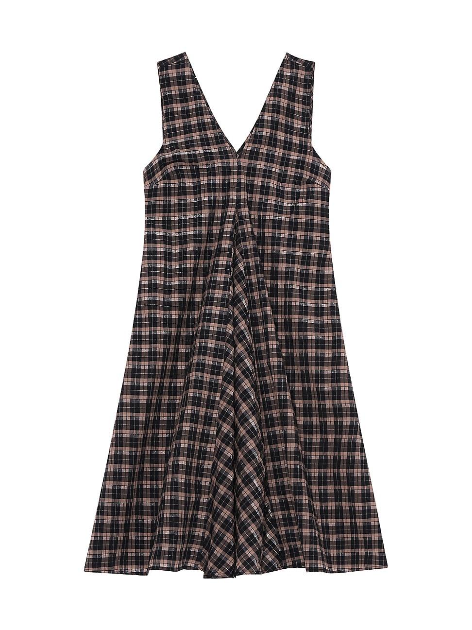 Ganni WOMEN'S SEERSUCKER CHECK SLEEVELESS MINI DRESS