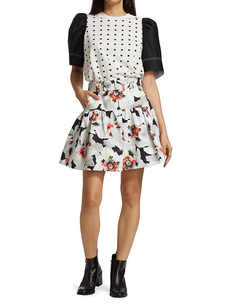 TANYA TAYLOR Silks WOMEN'S CARRIE BELTED FLORAL SKIRT