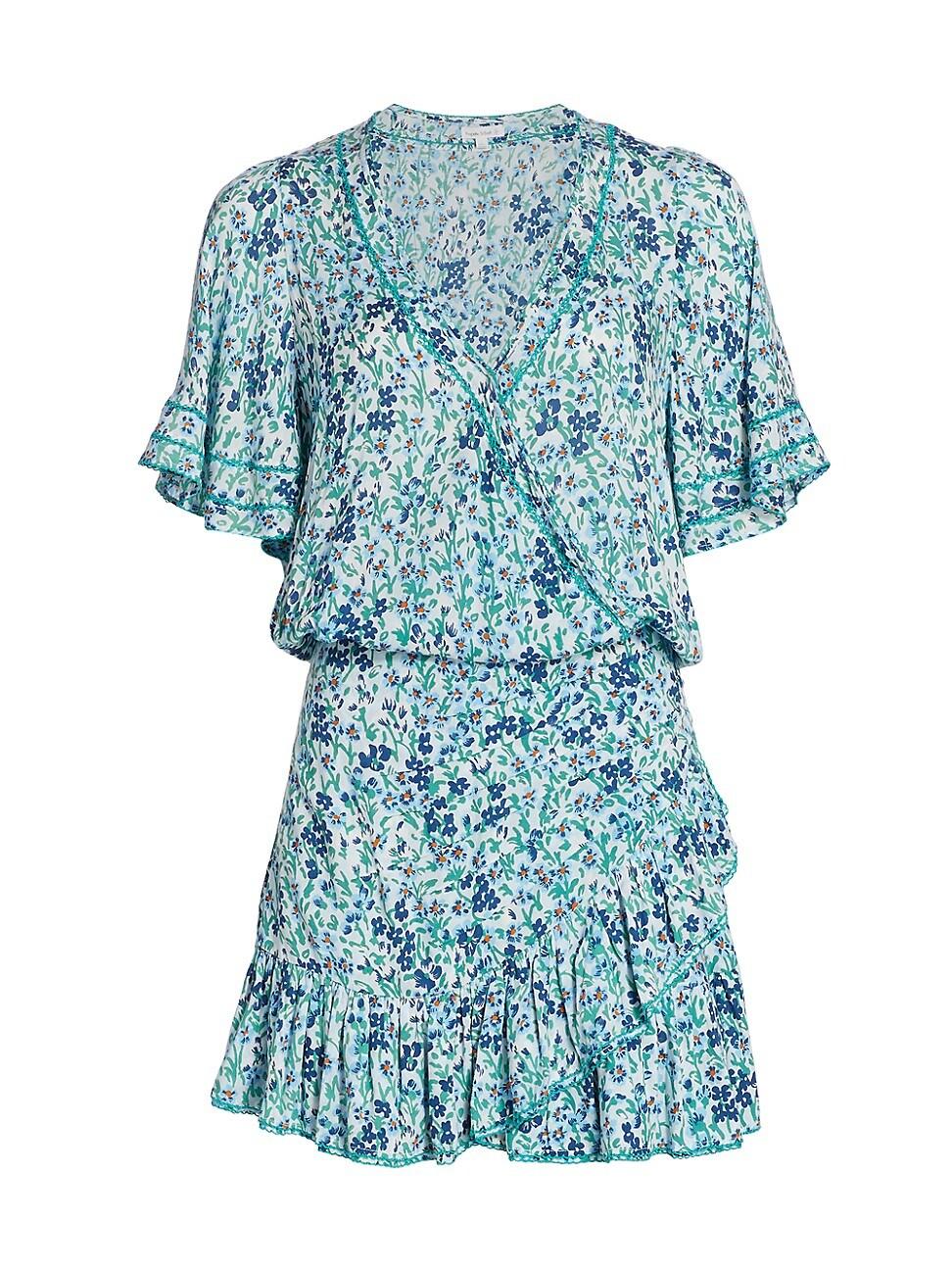 Poupette St Barth WOMEN'S MABELLE RUFFLE FLORAL MINI A-LINE DRESS