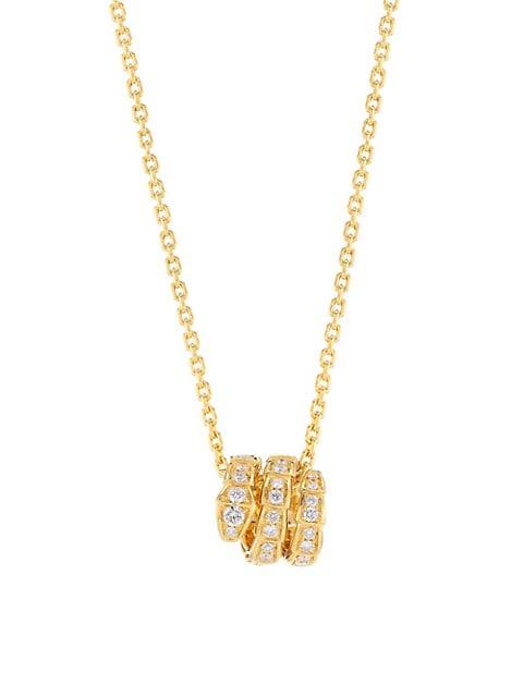 Serpenti Viper 18K Yellow Gold & Pavé Diamond Pendant Necklace