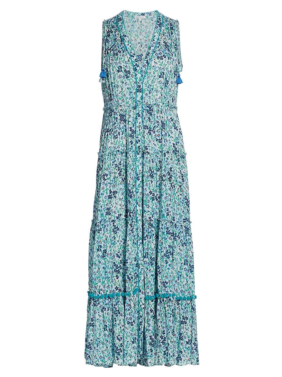 Poupette St Barth Maxi dresses WOMEN'S IVY FLORAL RUFFLE-TRIM TASSEL MAXI DRESS
