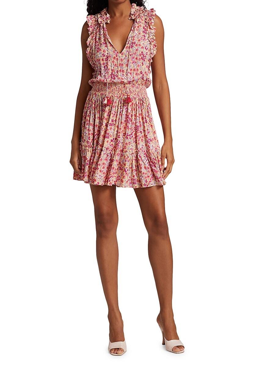 POUPETTE ST BARTH Mini dresses WOMEN'S TRINY FLORAL RUFFLE-TRIM TASSEL MINI FLOUNCE DRESS