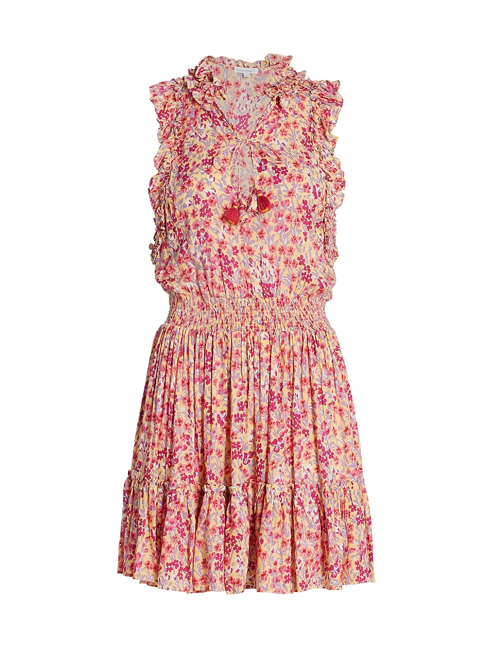 Poupette St Barth WOMEN'S TRINY FLORAL RUFFLE-TRIM TASSEL MINI FLOUNCE DRESS