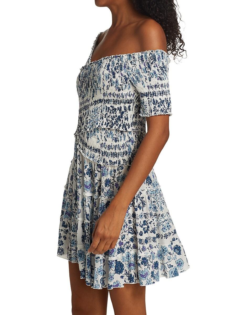 POUPETTE ST BARTH Mini dresses WOMEN'S SOLEDAD OFF-THE-SHOULDER FLORAL TIER RUFFLE MINI DRESS