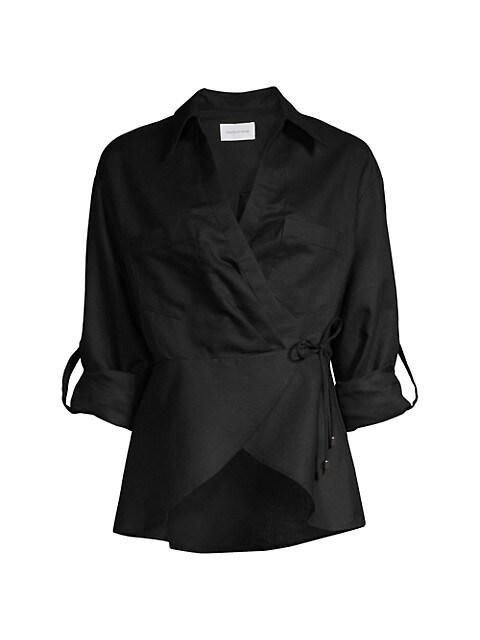 Savannah Wrap Linen-Blend Shirt