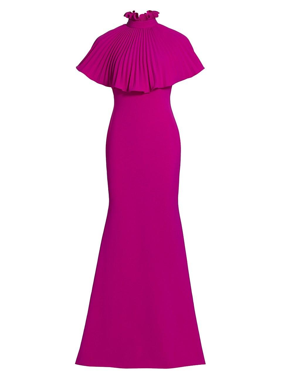 Theia WOMEN'S GABRIELLA PLEATED CAPE GOWN DRESS