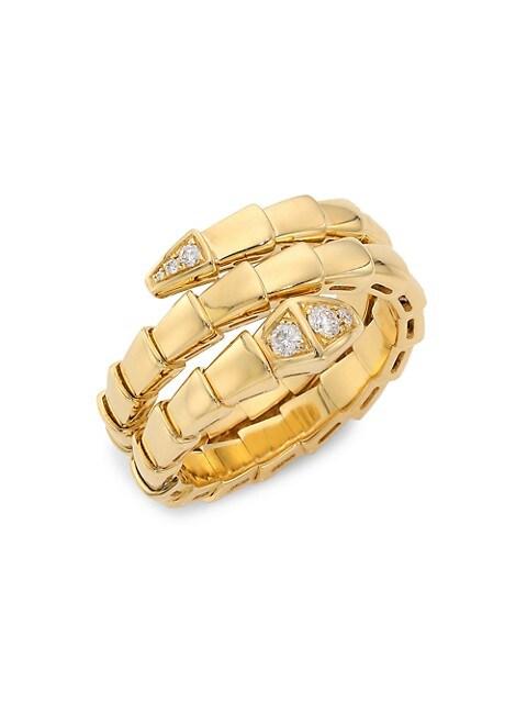 Serpenti Viper 18K Yellow Gold & Diamond 2-Coil Ring