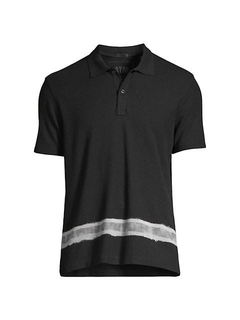 Pique Polo With Bleach Stripe
