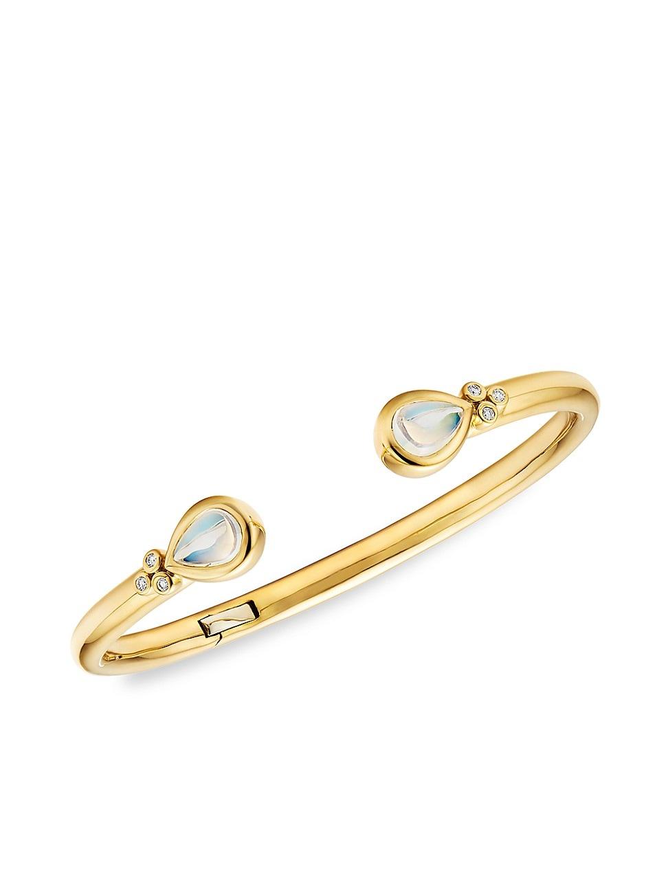 Temple St. Clair WOMEN'S CL COLOR BELLINA 18K YELLOW GOLD, BLUE MOONSTONE & DIAMOND CUFF BRACELET