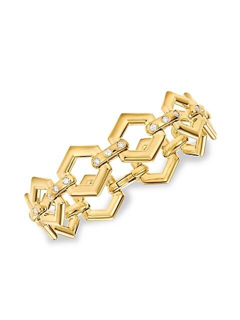 Tol 18K Yellow Gold & Diamond Beehive Link Bracelet