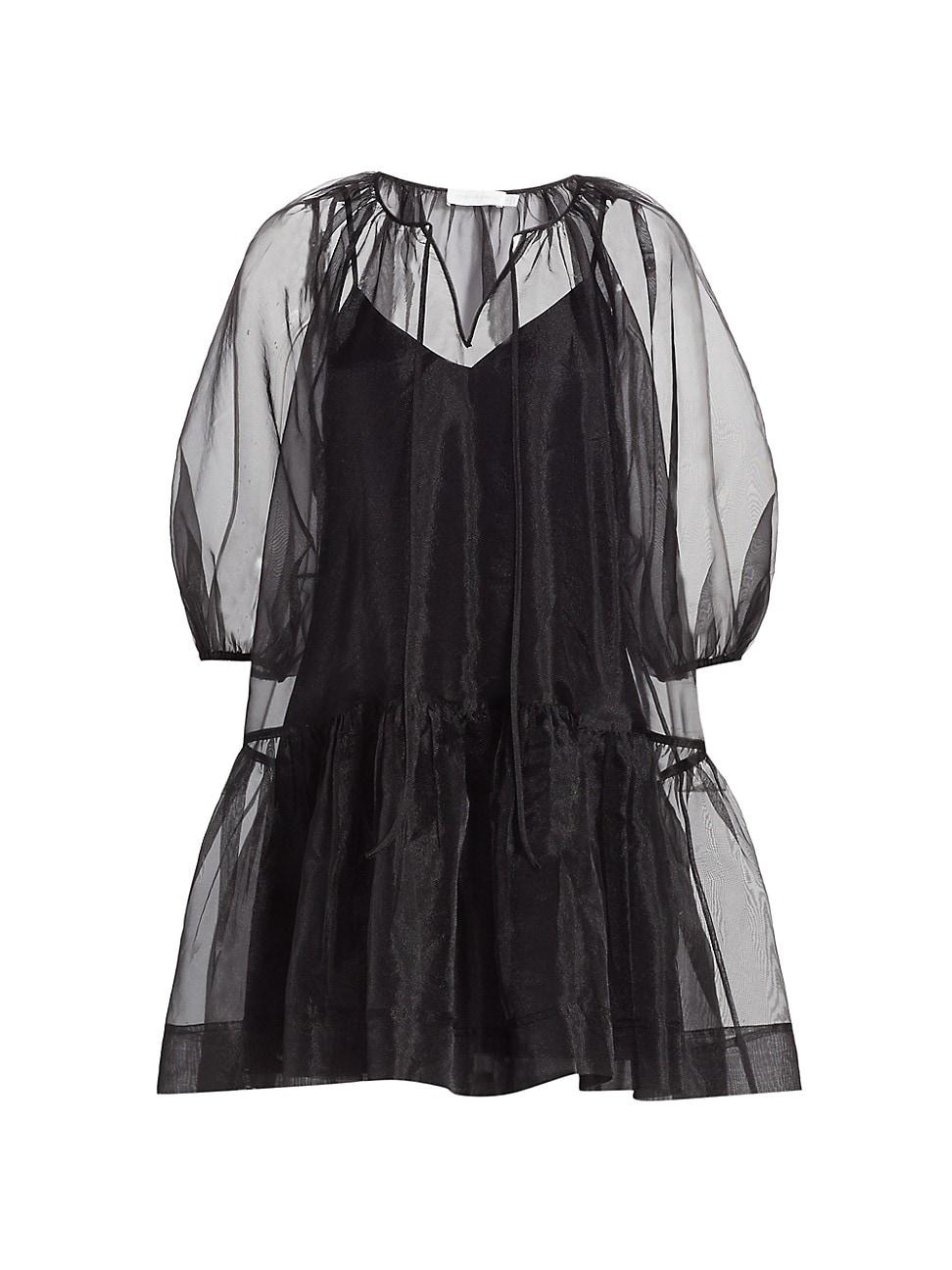 Jonathan Simkhai WOMEN'S EVERLEE ORGANZA PUFF-SLEEVE MINI DRESS