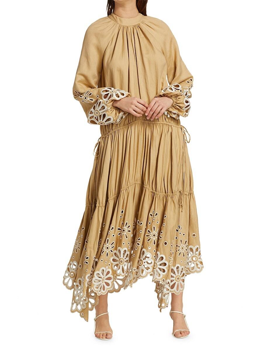 JONATHAN SIMKHAI Maxi dresses WOMEN'S ANISA BRODERIE ANGLAISE CASCADE MAXI DRESS