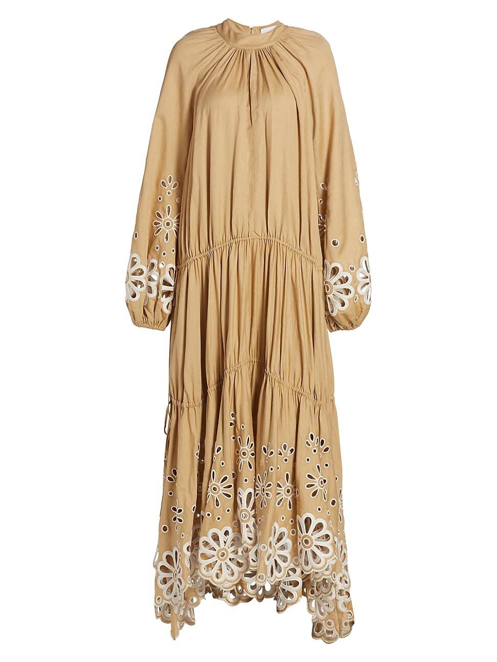 Jonathan Simkhai WOMEN'S ANISA BRODERIE ANGLAISE CASCADE MAXI DRESS