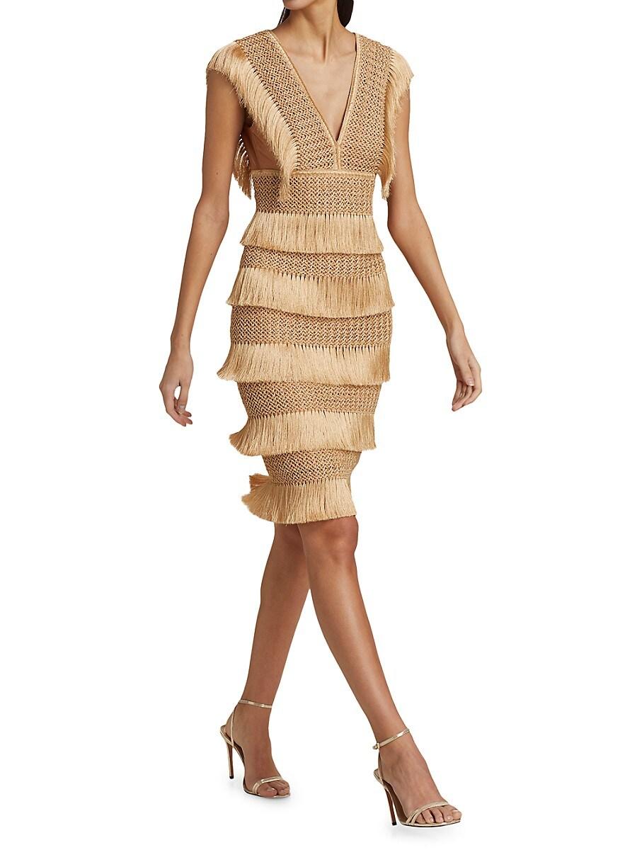 PATBO Dresses WOMEN'S FRINGE MIDI SHEATH DRESS