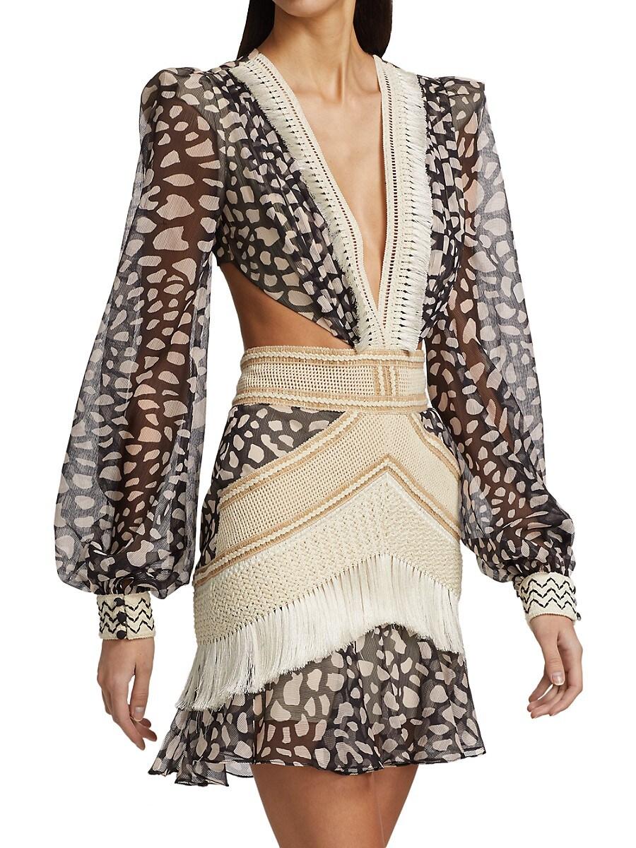 PATBO Cottons WOMEN'S FRINGE-TRIM SPOTTED MINI DRESS