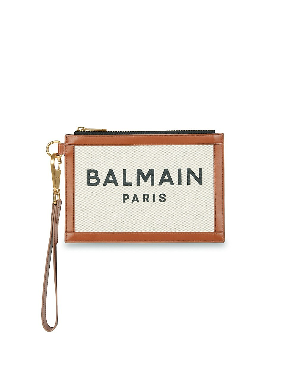 Balmain WOMEN'S B-ARMY LEATHER-TRIMMED CANVAS POUCH