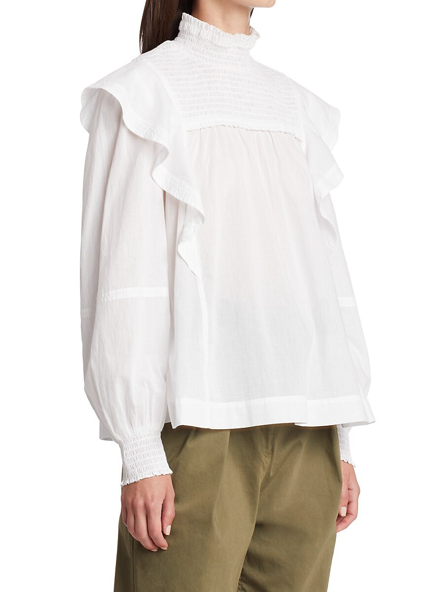 A.L.C Cottons WOMEN'S JILLIAN HIGHNECK RUFFLE TRIM TOP
