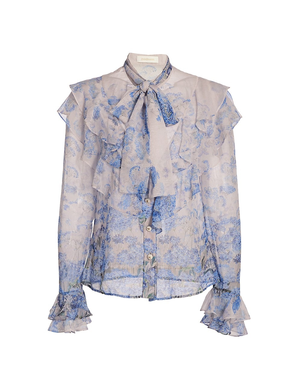Zimmermann WOMEN'S WILD BOTANICA LUMINOUS RUFFLE BLOUSE