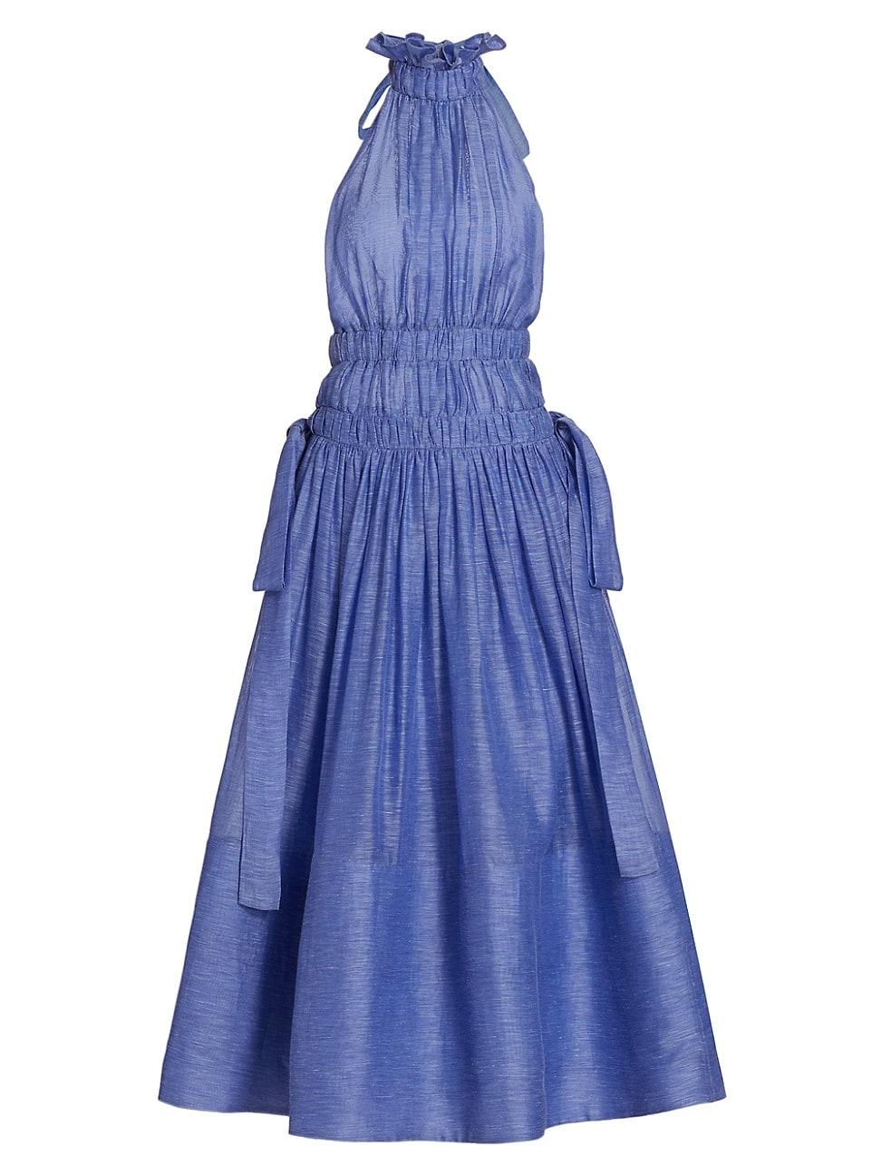 Zimmermann Gowns WOMEN'S WILD BOTANICA LUMINOUS RUFFLE HALTER GOWN