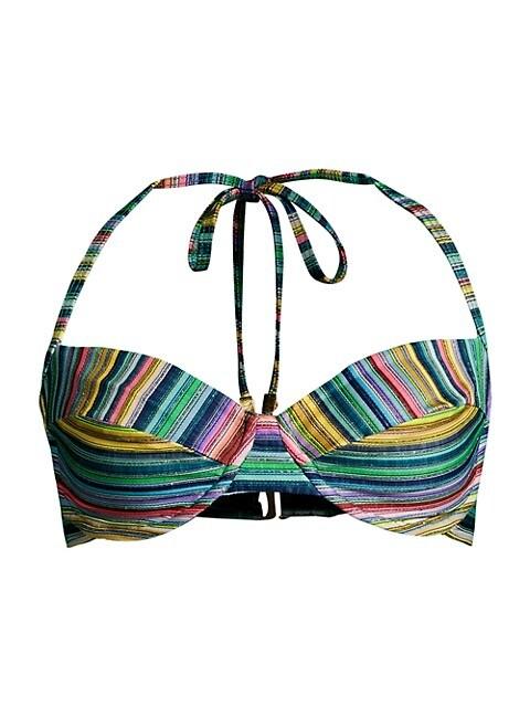 Metallic Stripe Underwire Bikini Top