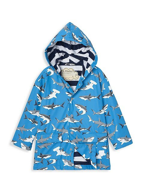 Little Boy's & Boy's Deep Sea Sharks Rain Coat