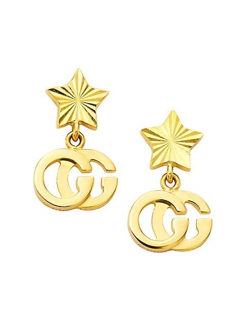 GG Running 18K Yellow Gold Star Drop Earrings