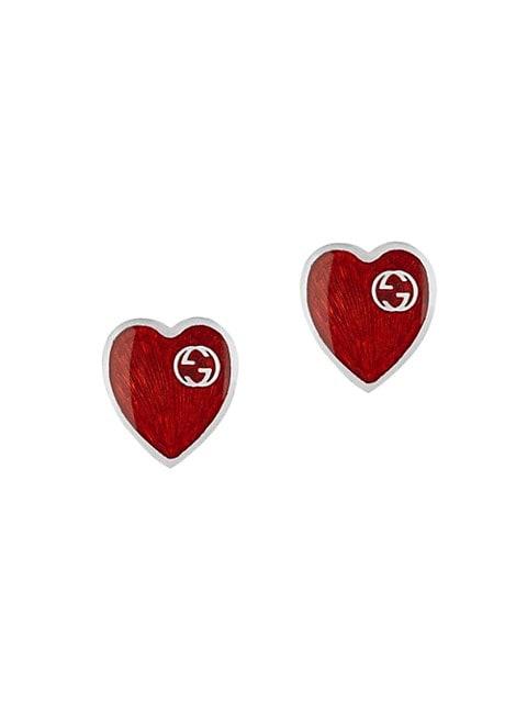 GG Hearts Sterling Silver & Red Enamel Stud Earrings