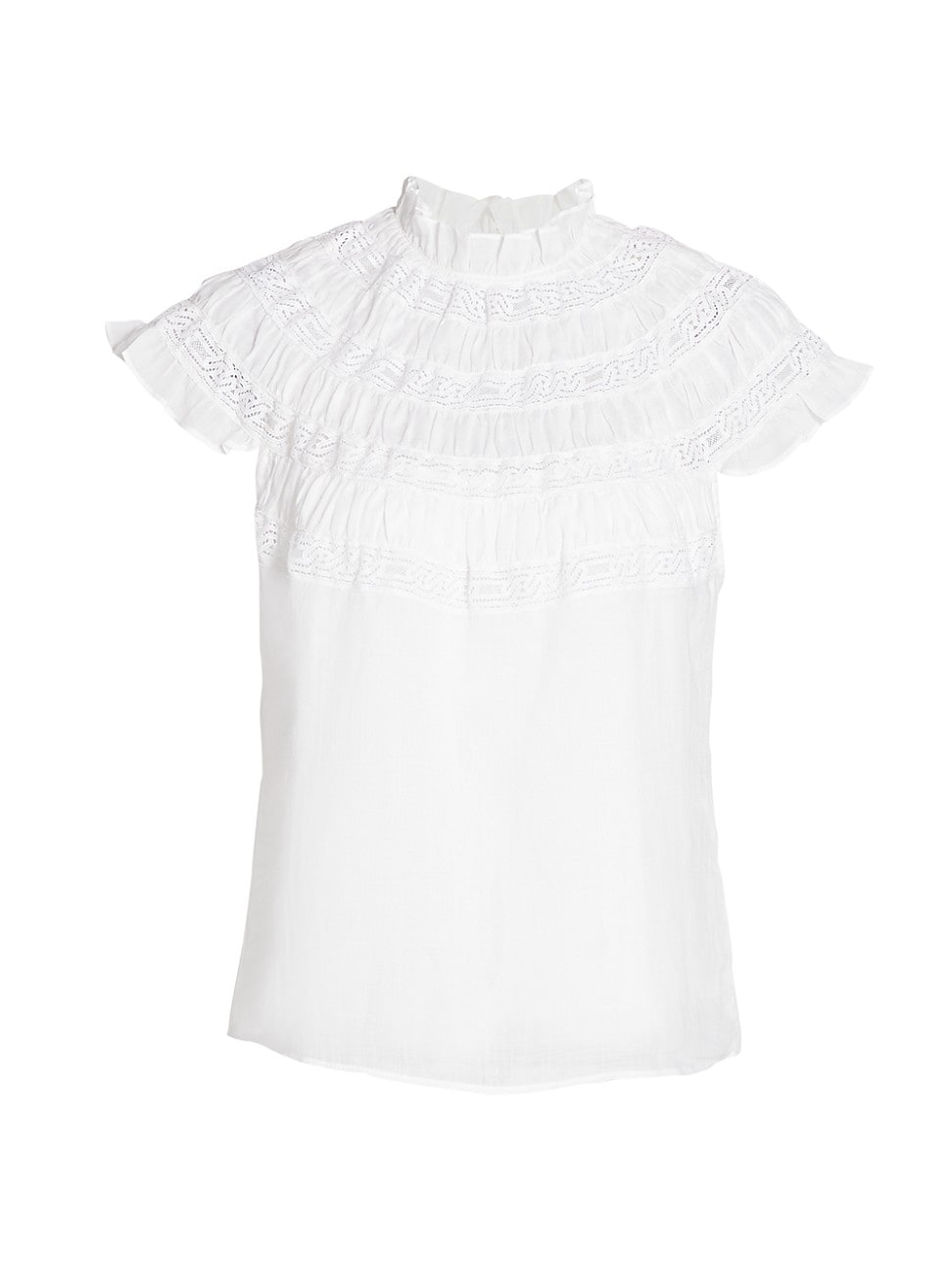 Frame WOMEN'S LACE INSET SHORT SLEEVE TOP