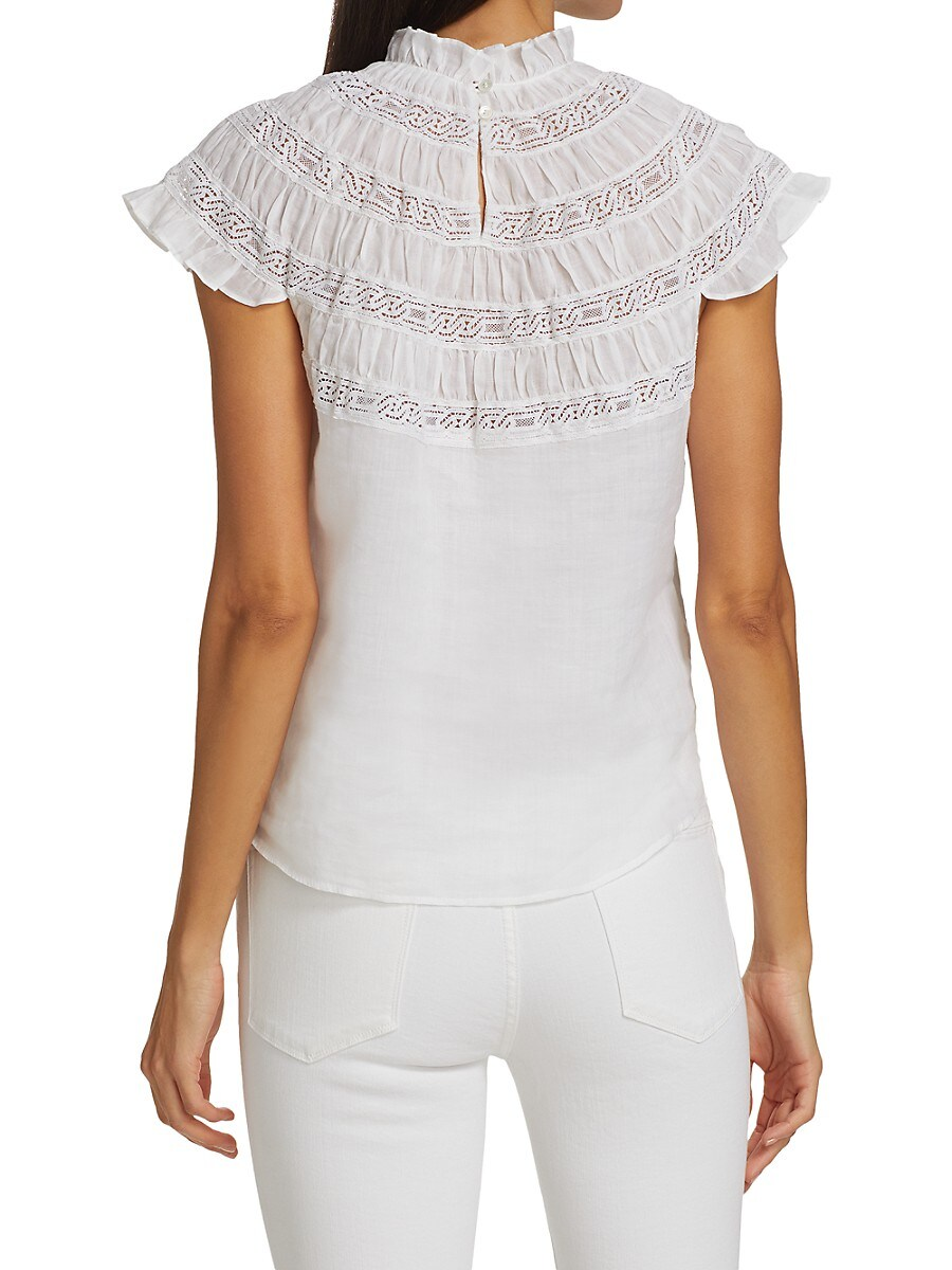 FRAME Denims WOMEN'S LACE INSET SHORT SLEEVE TOP