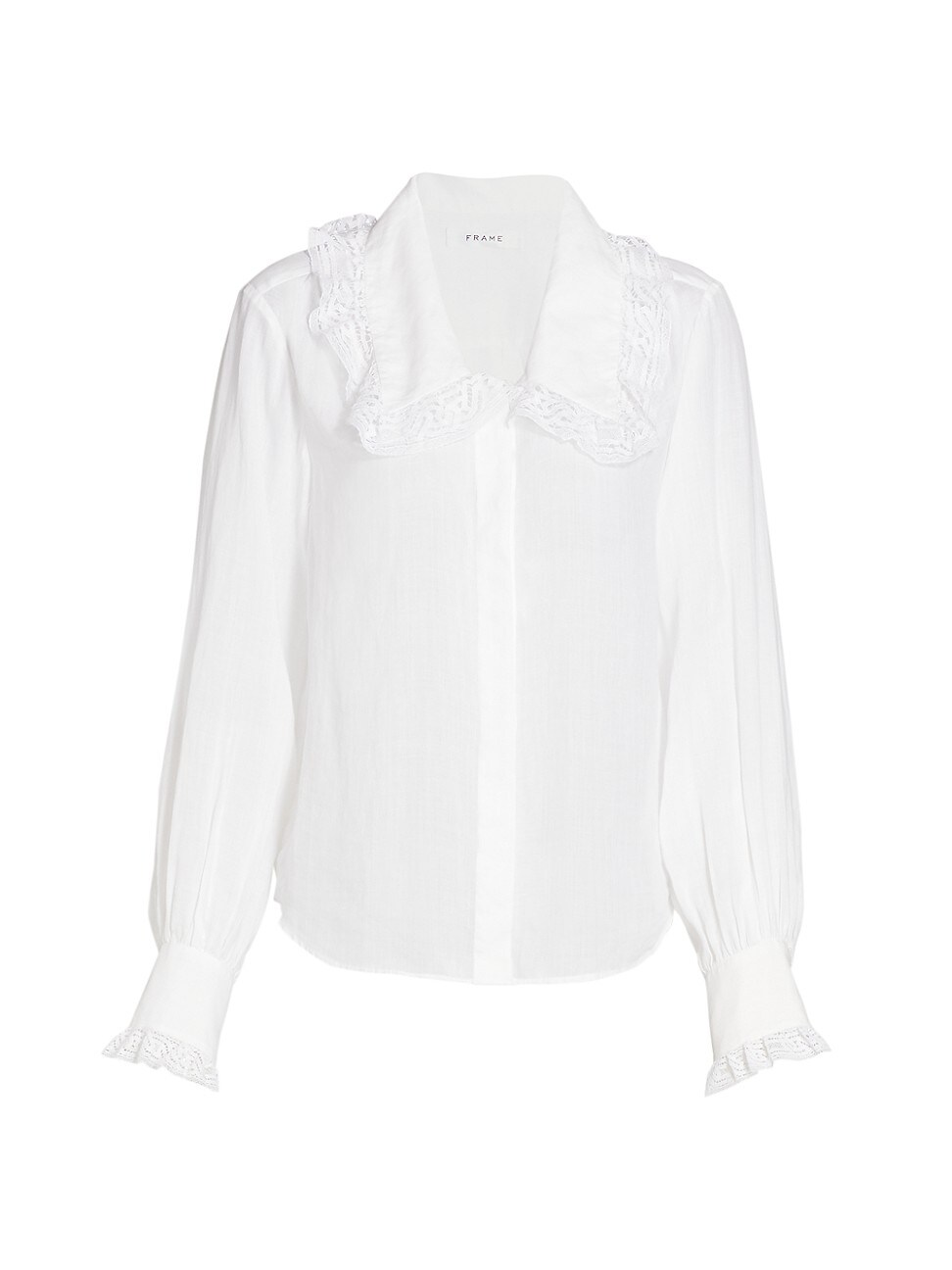 FRAME WOMEN'S LACE-TRIM WIDE-COLLAR SHIRT