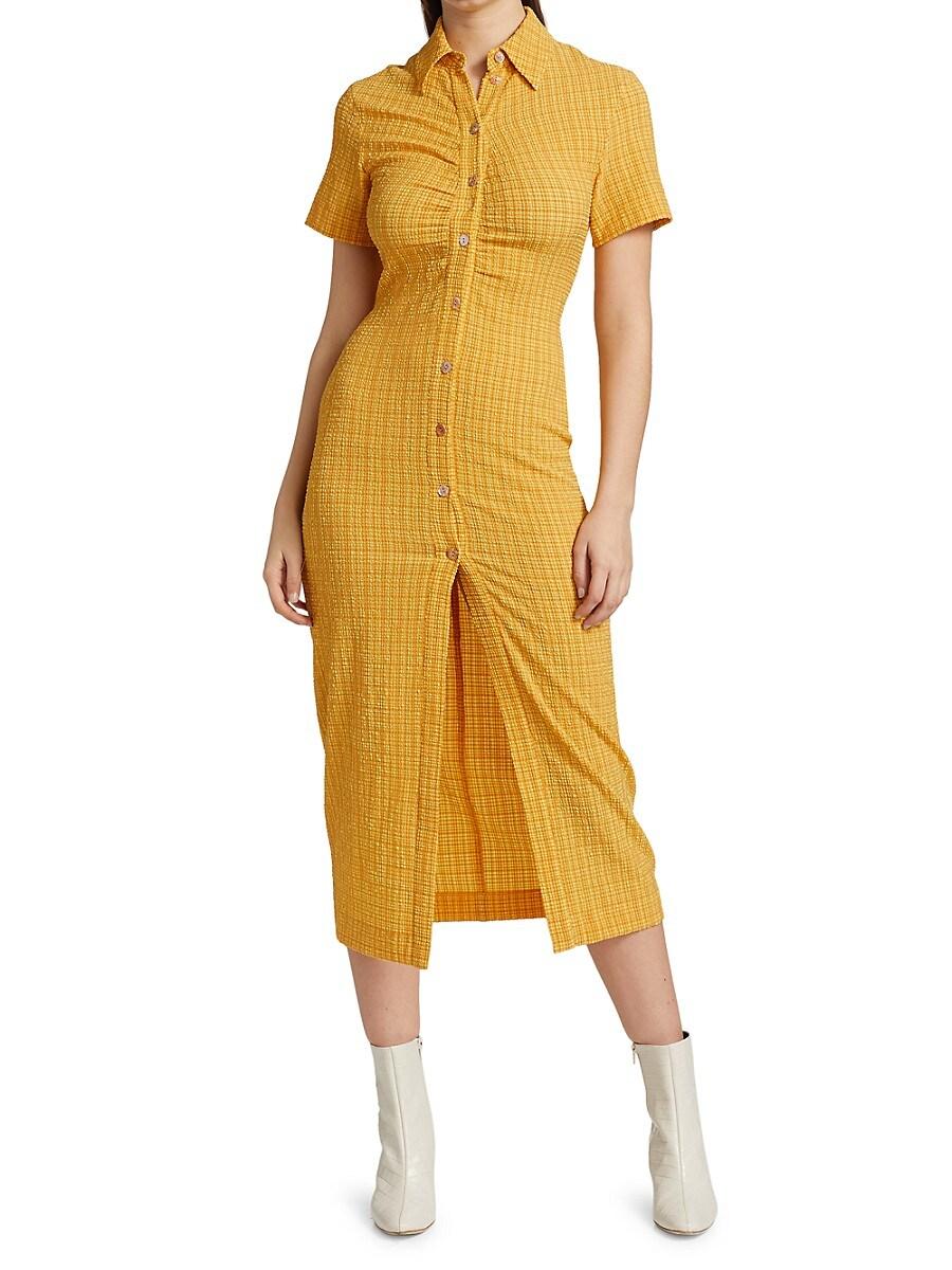 NANUSHKA Midi dresses WOMEN'S SABRI TEXTURED MIDI SHIRTDRESS