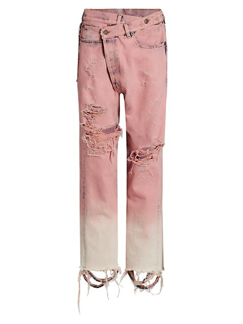 Distresssed Crossover Jeans