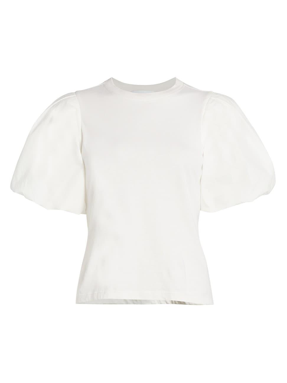 Jonathan Simkhai Standard WOMEN'S DENISE COMBO PUFF-SLEEVE TOP