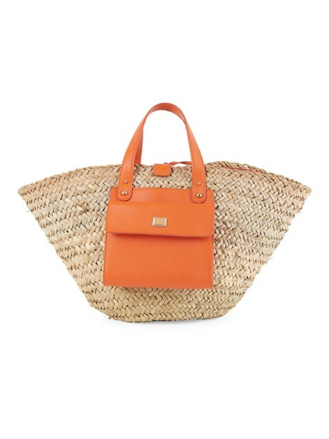 Kendra Leather-Trimmed Straw Tote