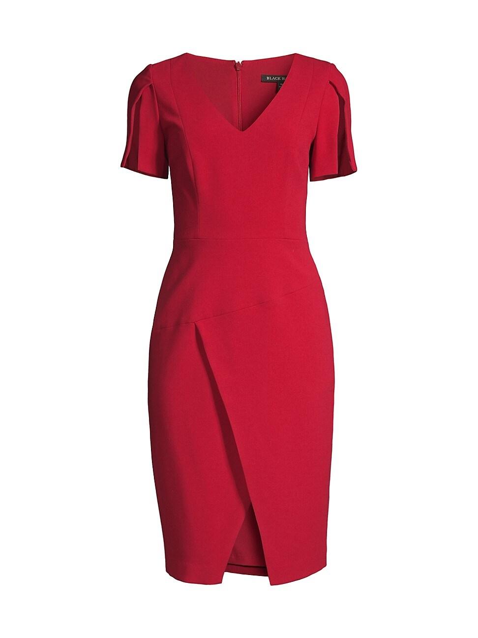 Black Halo WOMEN'S VALOR WRAP-DETAIL SHEATH DRESS