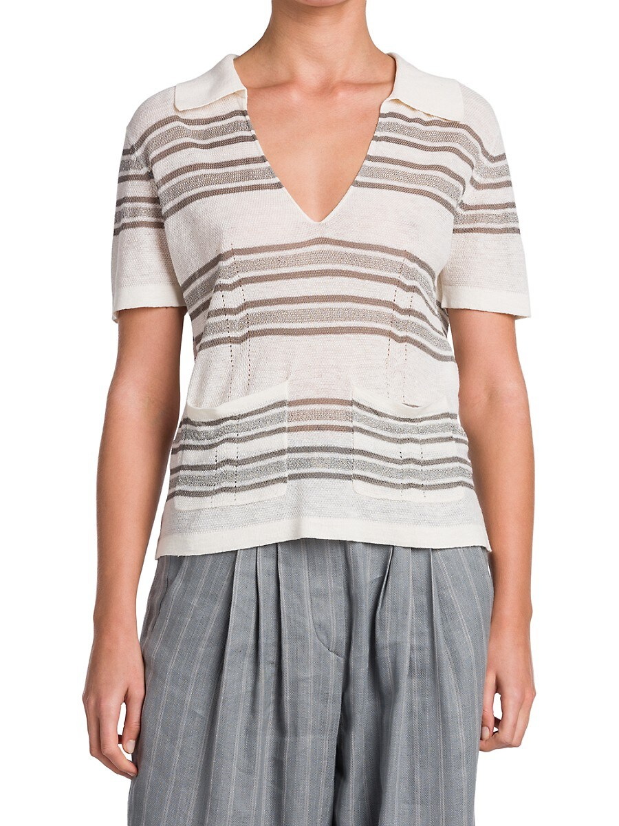 GIORGIO ARMANI T-shirts WOMEN'S STRIPED V-NECK SWEATER WITH POCKETS