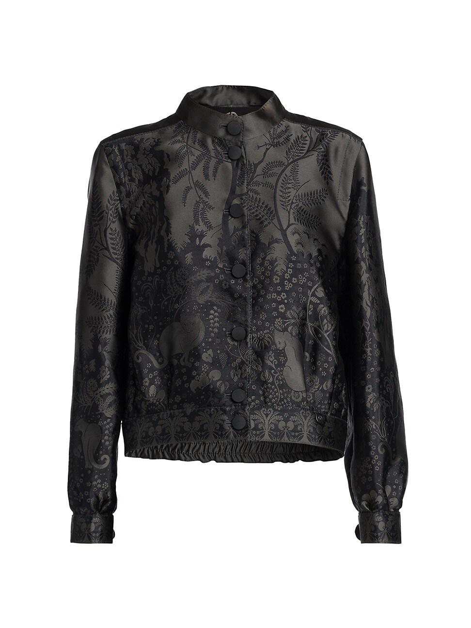 Giorgio Armani Jackets WOMEN'S JACQUARD BUTTON SILK-BLEND JACKET
