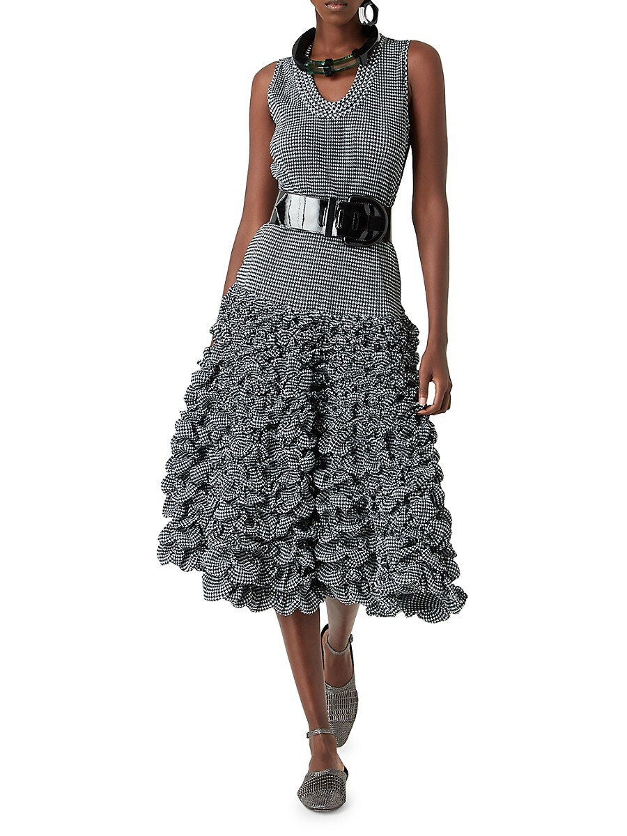 GIORGIO ARMANI Dresses WOMEN'S HOUNDSTOOTH-PRINT JERSEY SLEEVLESS RUFFLE DRESS