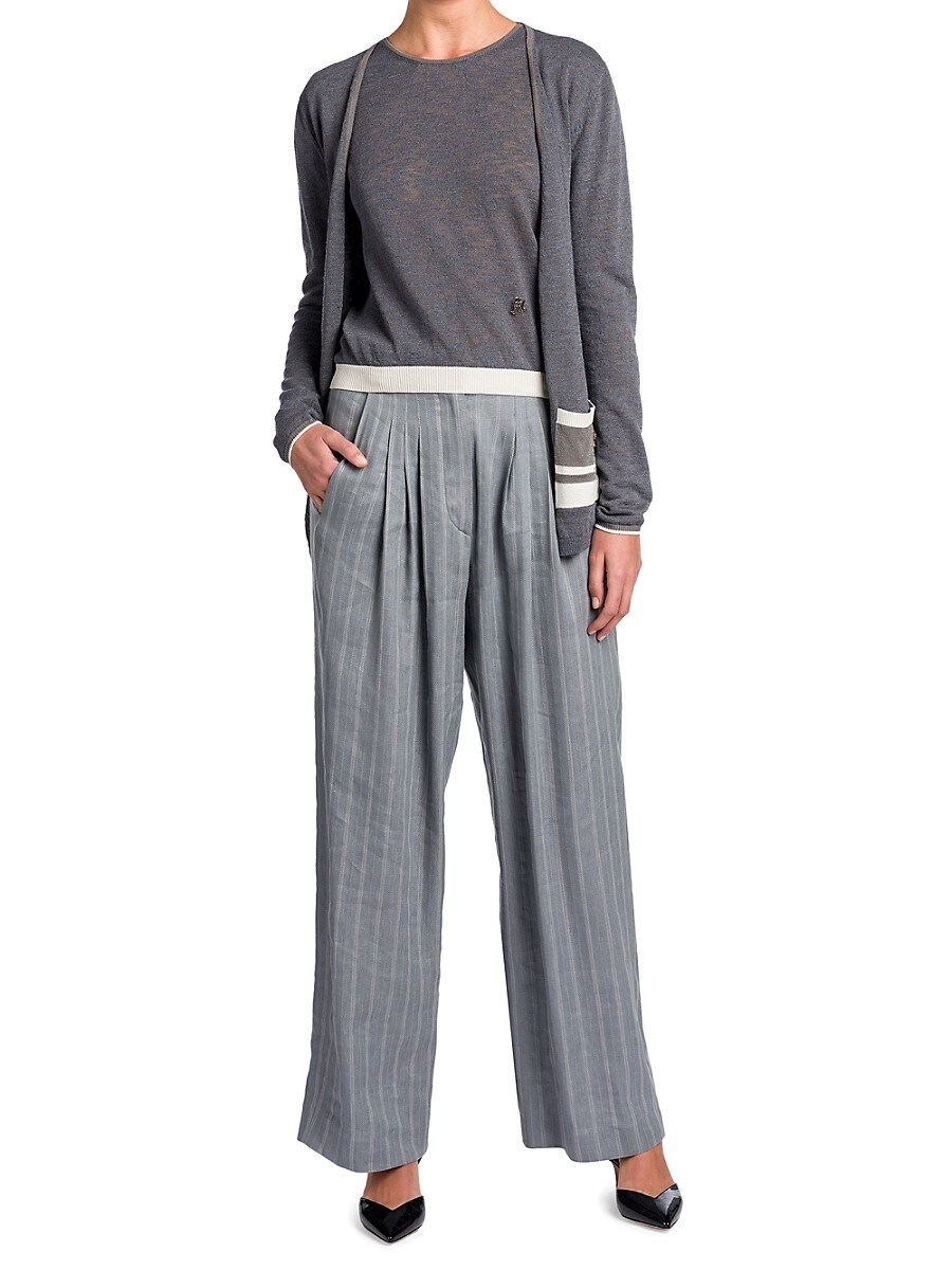 GIORGIO ARMANI Cardigans WOMEN'S STRIPED-POCKET SILK & LINEN-BLEND CARDIGAN