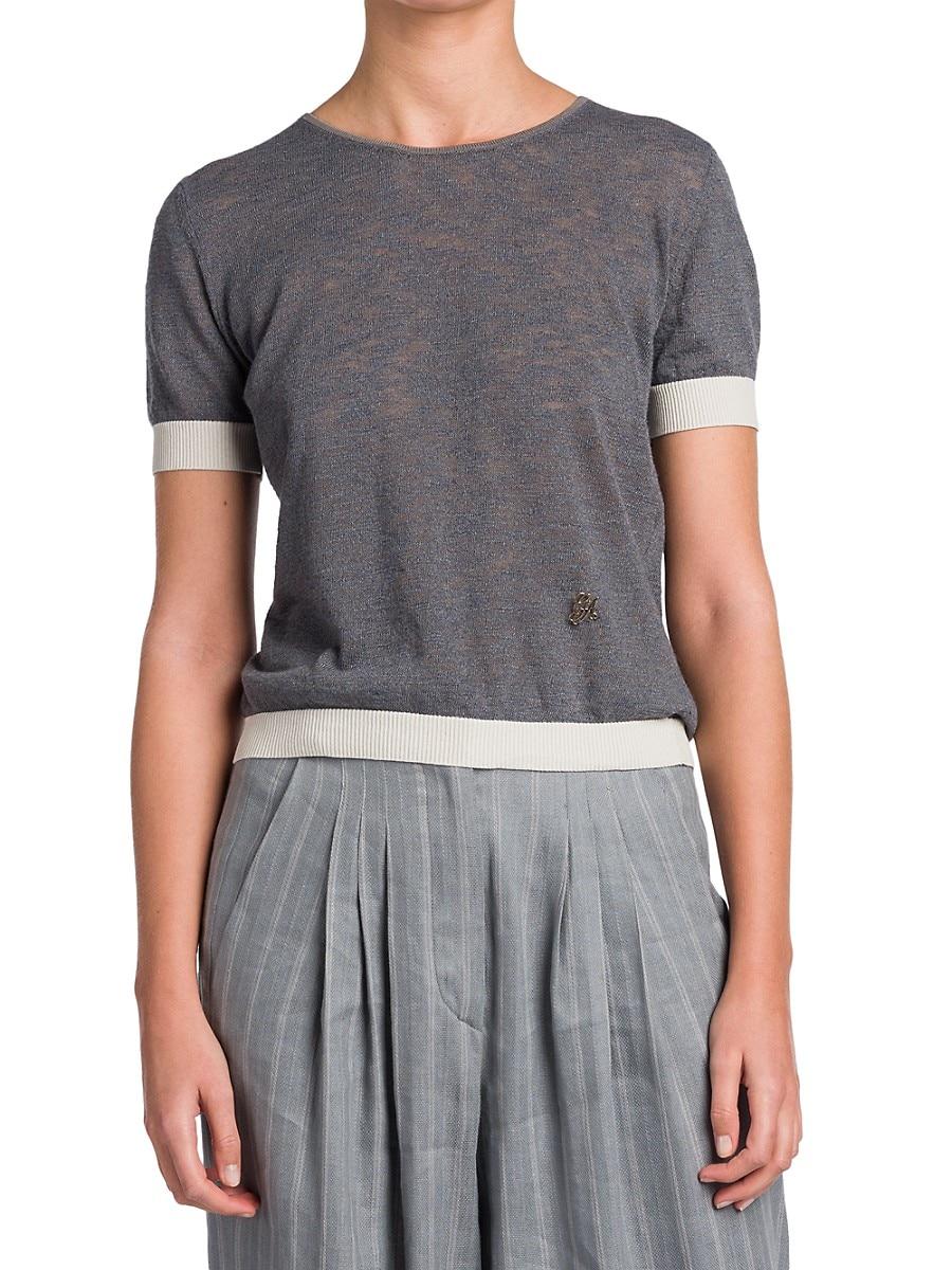 GIORGIO ARMANI T-shirts WOMEN'S KNIT CREWNECK T-SHIRT