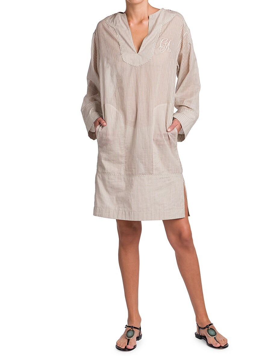 GIORGIO ARMANI Midi dresses WOMEN'S EMBROIDERED LOGO STRIPE CAFTAN DRESS