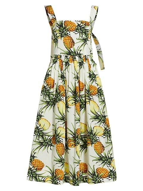 Tie-Back Printed Poplin Dress