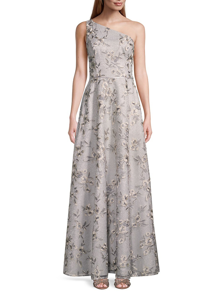 AIDAN MATTOX Dresses WOMEN'S ONE-SHOULDER FLORAL GOWN